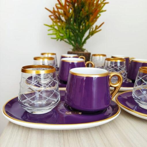 18 Pcs Large Plate Purple Coffee Serving Set
