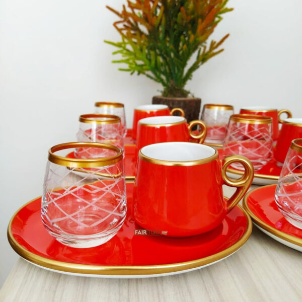 18 Pcs Large Plate Red Coffee Serving Set