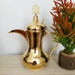 Large Gold Color Hammared Copper Dallah