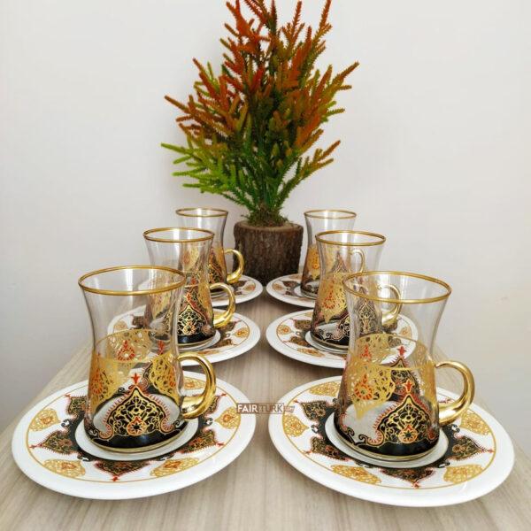 Küpeli Turkish Tea Set With Holder