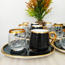 18 Pcs Large Plate Black Coffee Serving Set