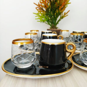 18 Pcs Large Plate Black Coffee Serving Set