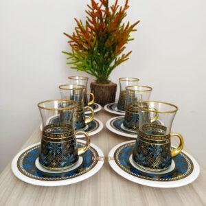 Night Flower Turkish Tea Set With Holder