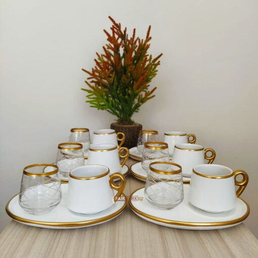 18 Pcs Large Plate White Coffee Serving Set