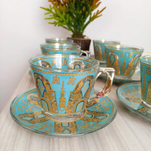 Lara Turquoisse-Gold Coffee Mugs-Tea Glasses Set
