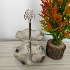 Two Tier Original Copper Silver Color Hammared Serving Tray