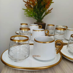 18 Pcs Large Plate White Coffee Serving Set