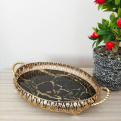 Gold Color Oval Marble Design Tray
