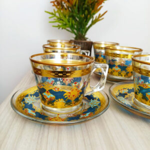 Feyza Gold Coffee Mugs-Tea Glasses Set
