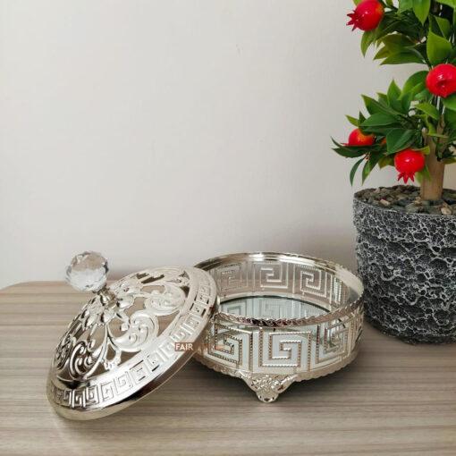 Labyrinth Desing Silver Color Mirror Snack Bowl