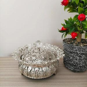 Ivy Desing Silver Color Mirror Snack Bowl