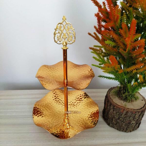 Two Tier Original Copper Gold Color Serving Tray