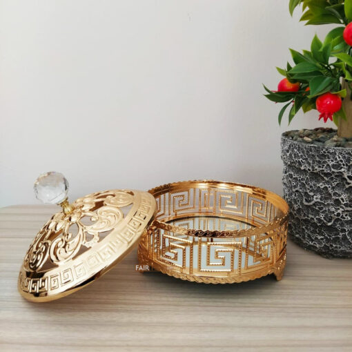 Labyrinth Desing Gold Color Mirror Snack Bowl
