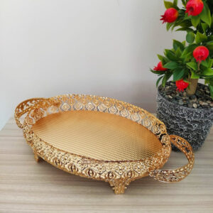 Gold Color Oval Hammered Design Tray