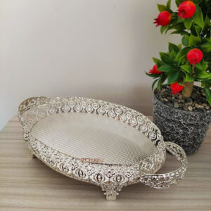 Silver Color Oval Hammered Design Tray