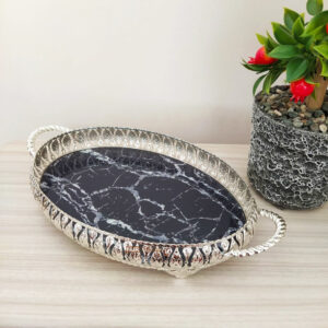 Silver Color Oval Marble Design Tray