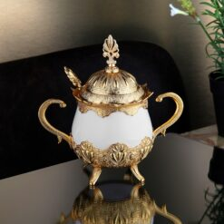 Ahsen Gold Color Sugar Bowl With Spoon