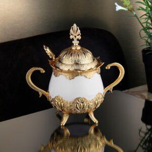 Ahsen Gold Color Sugar Bowl With Spoon