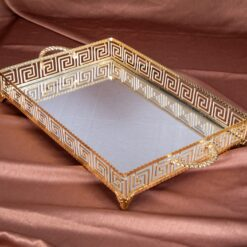Large Labyrinth Design Gold Color Mirror Tray