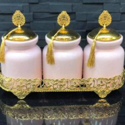 Pink Color Ceramic Jar Set With Metal Stand