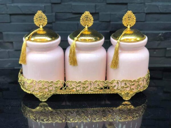 Pink Color Ceramic Jar Set With Metal Stand