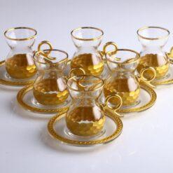 Honey Comb Gold Color Turkish Tea Set