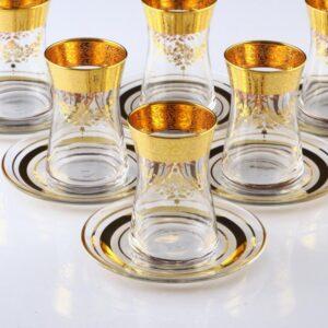 12 Pcs Thin Waist Sibel Gold Color Tea Set