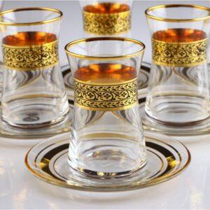 12 Pcs Thin Waist Pak Gold Color Tea Set