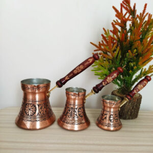 Antique Design Copper Coffee Pots With Lid Set For Three
