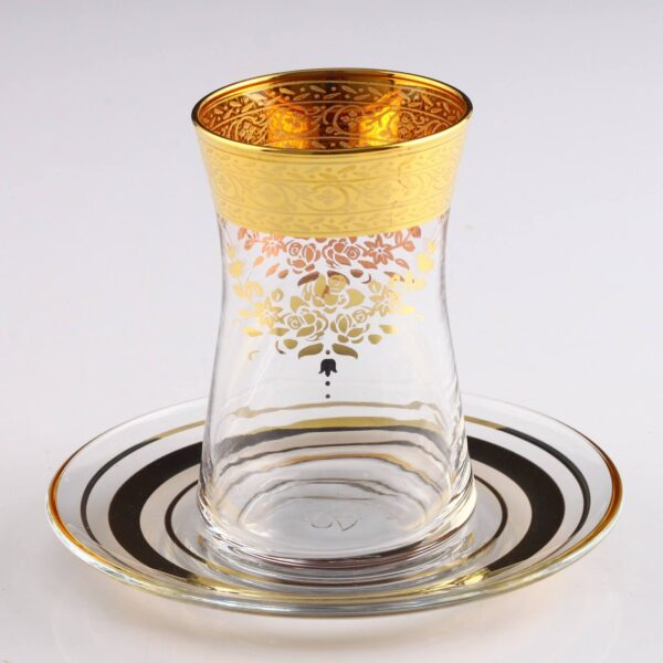 12 Pcs Thin Waist Sibel Gold Color Tea Set