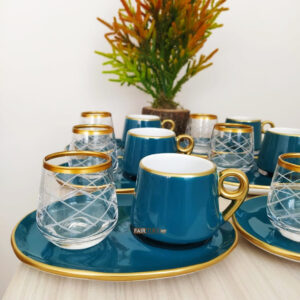 18 Pcs Large Plate Green Coffee Serving Set