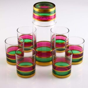 Organic Painted Beverage-Water Glasses Set With Bottle