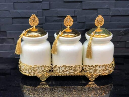 White Color Ceramic Jar Set With Metal Stand