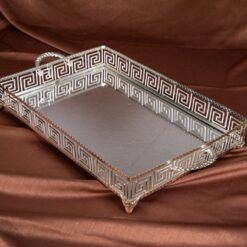 Large Labyrinth Design Silver Color Mirror Tray