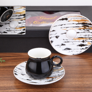 Ela Porcelain Black Turkish Coffee Set