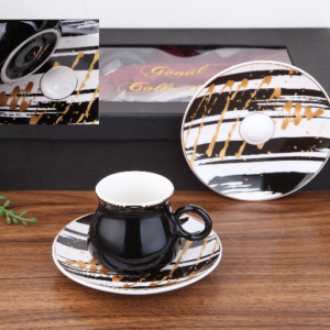 Hanzade Porcelain Black Turkish Coffee Set