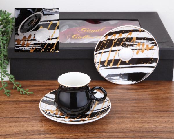 Hanzade Porcelain Black Turkish Coffee Set