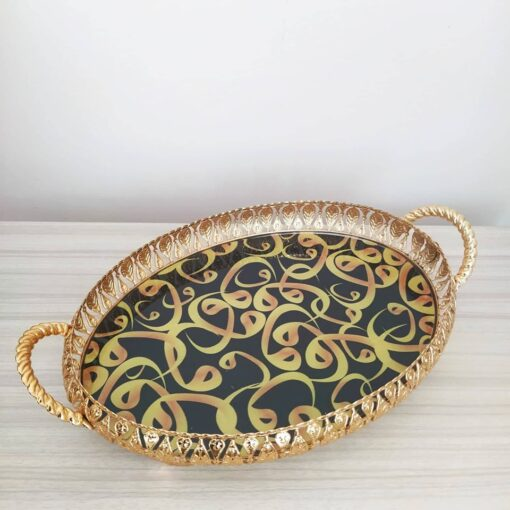 VaV Desing Golden Color Oval Serving Tray