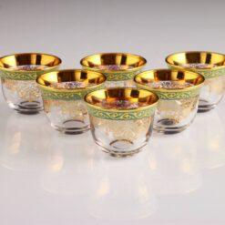 Iris Gold Plated Arabic Coffee-Mirra Cups Set