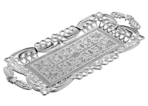 Ahsen Silver Color Serving Tray For 2 Glasses