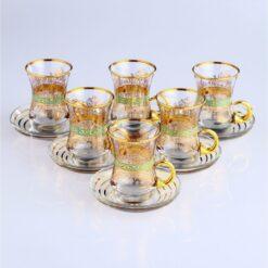 12 Pcs Thin Waist Iris Turkish Tea Set With Holder
