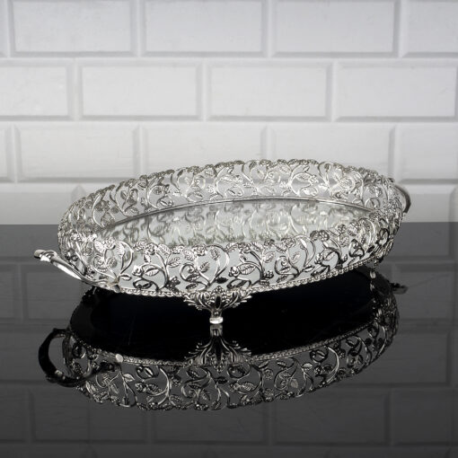 Roza Large Size Silver Color Oval Mirror Tray