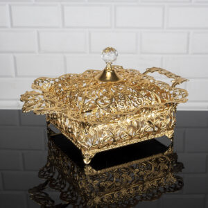 Roza Gold Color Mirror Large Snack Bowl