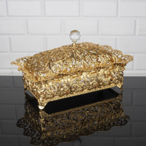 Roza Rectangle Gold Color Mirror Large Snack Bowl