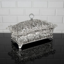 Roza Rectangle Silver Color Mirror Large Snack Bowl