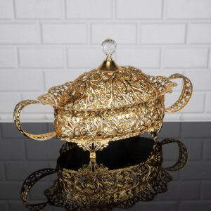 Roza Oval Gold Color Mirror Large Snack Bowl