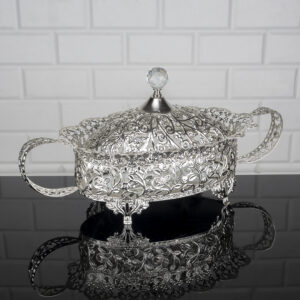 Roza Oval Silver Color Mirror Large Snack Bowl