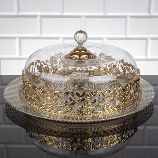 Roza Gold Color Cake Stand With Lid