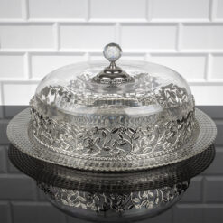 Roza Silver Color Cake Stand With Lid