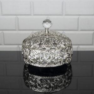 Roza Silver Color Mirror Snack Bowl